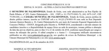 CONCURSO PÚBLICO N. 01/18 – EDITAL N. 01- ABERTURA E REGULAMENTO GERAL