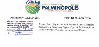 COVID-19: NOVO DECRETO Nº 75/2021 – Dispõe sobre regras de funcionamento das atividades no município.